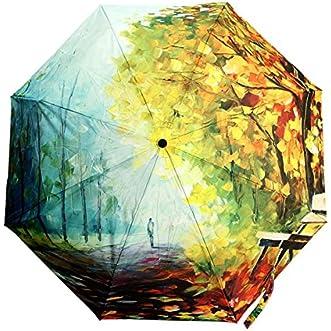 Autumn Leaves Anti UV 3 Floding Oil Painting Clear Rain Bumbershoot Umbrella // El otoño deja la anti-pintura al óleo uv 3 floding lluvia clara bumbershoot paraguas