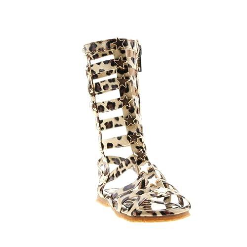 0f1c9135ce28 D.LIN Super Star Gladiator Sandals Girls Summer Knee High Boots(Toddler