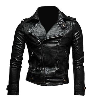 Jeansian Moda Hombre Chaqueta Moto Cuero Mens Fashion Jacket Motorcycle Leather Top 8937 Black L: Amazon.es: Ropa y accesorios