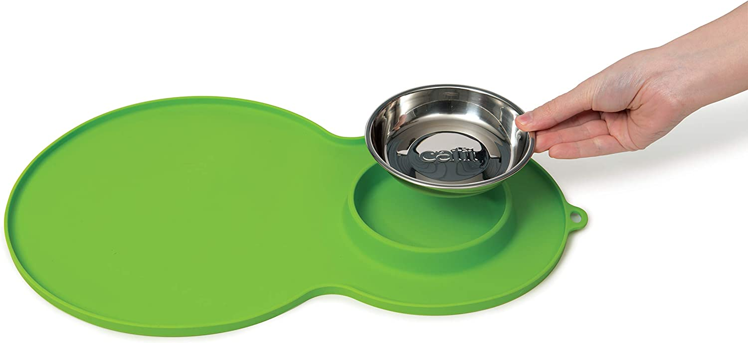 "Catit Peanut Shape Cat Placemat, Green, 17.5"" x 11.4"""