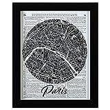 """Rivet Paris Map Vintage Dictionary Print, Black Frame, 13"""" x 16"""""""