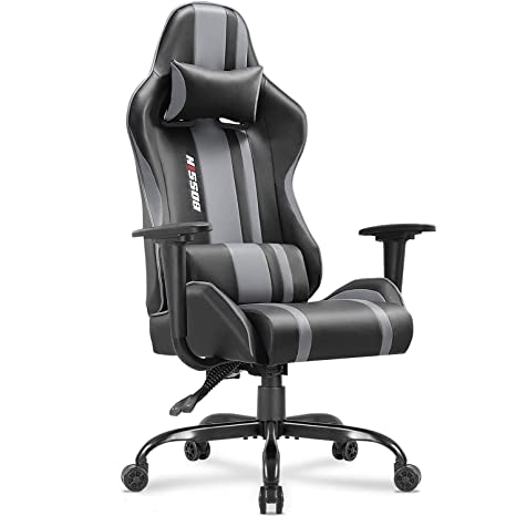 Gaming Chair Racing Style High-Back Computer Chair Swivel Ergonomic Executive Office Leather Chair Video Gaming Chair(Gray)