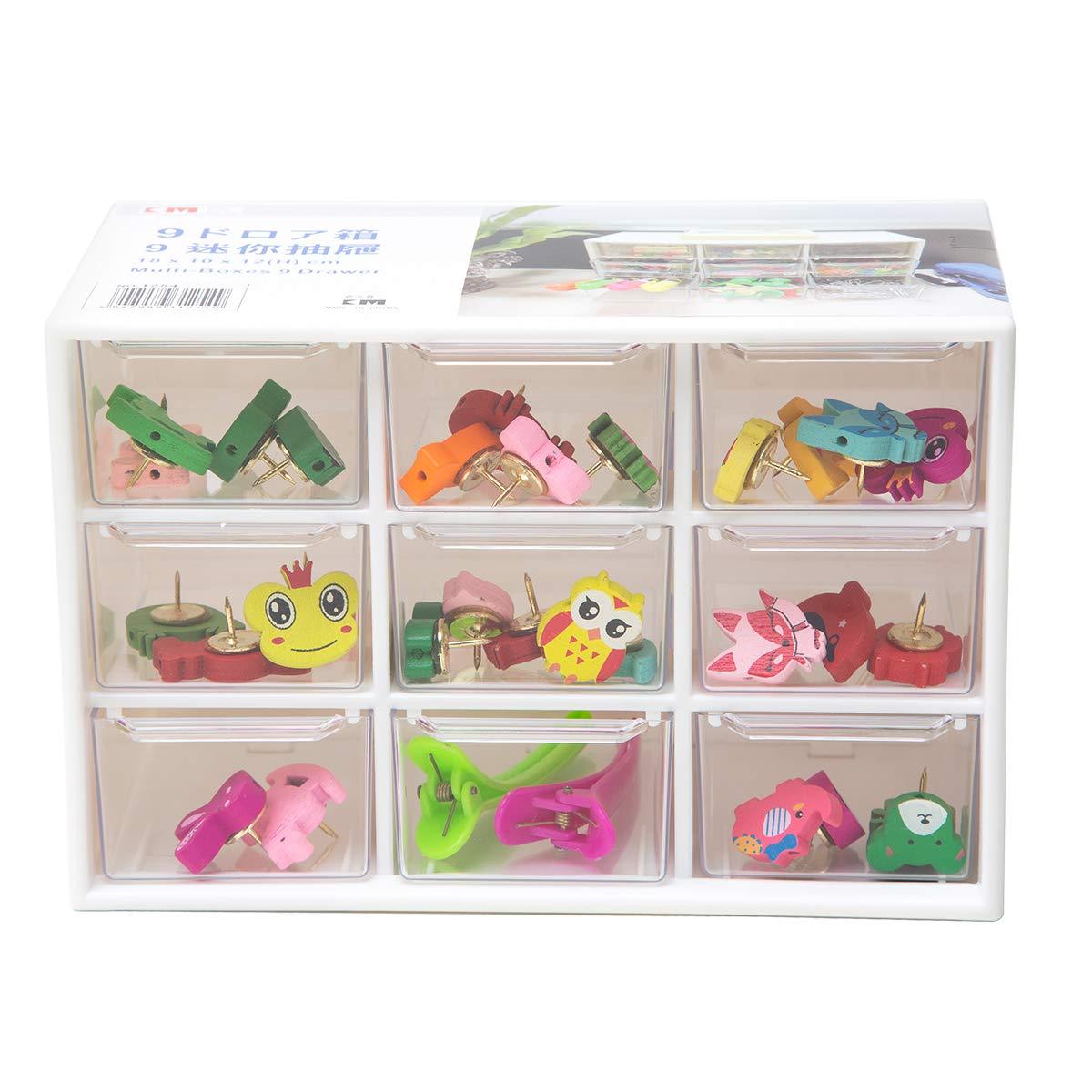 Chris-Wang Removeable Mini Acrylic 9 Drawer Desktop Storage Organizer/Collection Caddy/Small Belongings Holder/Art Craft Sorter, 18*10*12cm, White