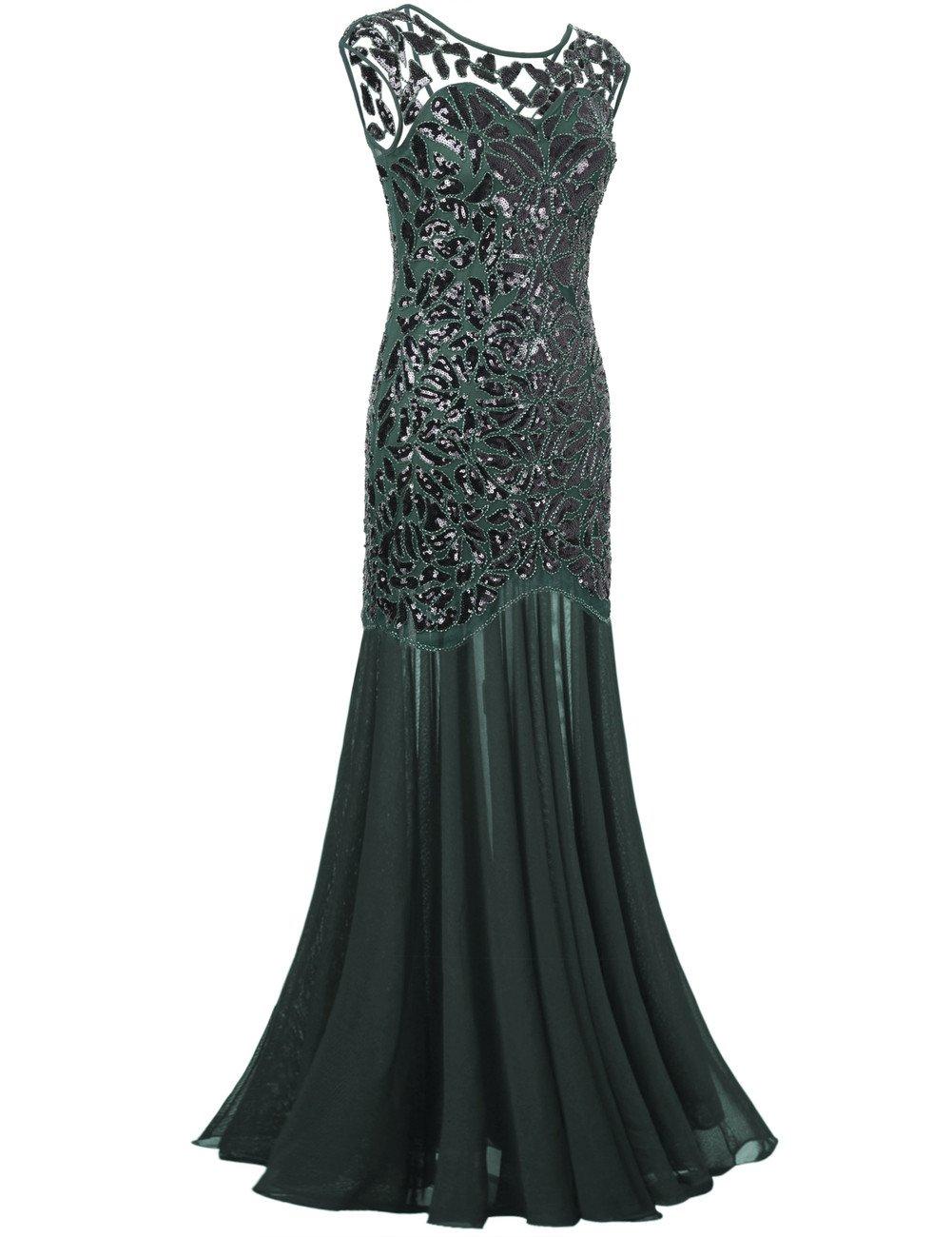 99086f3a87 Galleon - PrettyGuide Women  s 1920s Black Sequin Gatsby Maxi Long Evening  Prom Dress
