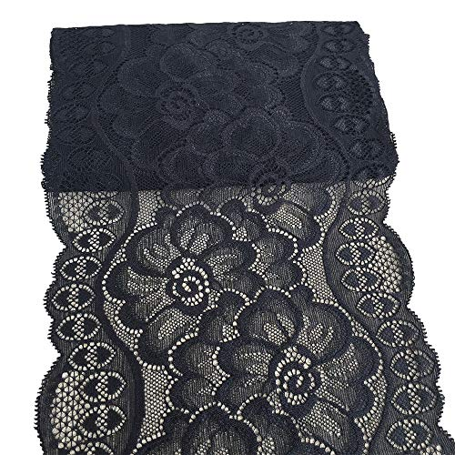 (LaceRealm 7 inches Black Floral Stretchy Lace Elastic Trim Fabric Garment DIY Craft Supply- 5 Yard(8969))