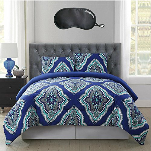 Serena & Lily 3 Piece (Truly Soft Harper Large Medallion Hypoallergenic 3-Piece FULL/QUEEN Size Reversible Comforter Mini Set in Blue with Sleep)
