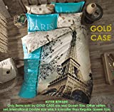 Gold Case Paris Series comforter cover Set - 3D Paris in Love -The only Real Queen Size - Made in Turkey - 100% cotton/Ranforce/6 pieces - Original Item