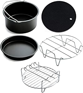 Nadalan Kitchen Cookware Air Fryer Accessories 7-inch 5-piece Set Baking Basket Grill and Pizza Tray Suitable for 7inch 3.5QT-5.8QT