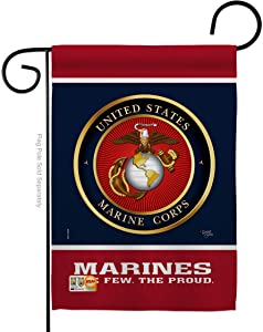 "Breeze Decor G158406-BO Proud Marine Corps Americana Military Impressions Decorative Vertical 13"" x 18.5"" Double Sided Garden Flag Printed in USA"