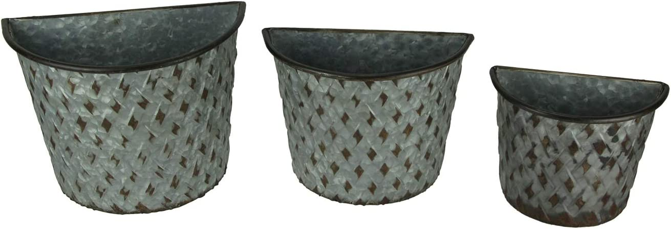 Set of 3 Galvanized Metal Wall Mounted Farmhouse Basket Planters