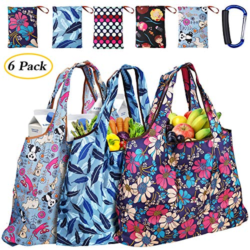 Folding Shop Bag - Large Reusable Grocery Shopping Tote Bags Heavy Duty with Metal Holder Handle, Thickened Reusable Shopping Bags Foldable into Pouch, Ripstop Eco Grocery Bags Washable and Lightweight