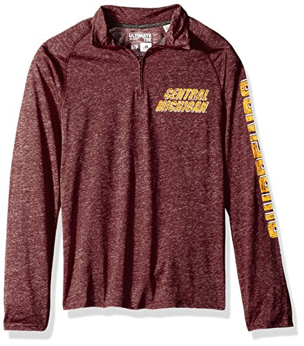 NCAA Central Michigan Chippewas Adult Men White Noise Casual Ultimate 1/4 Zip Tee, Small, Maroon Heathered