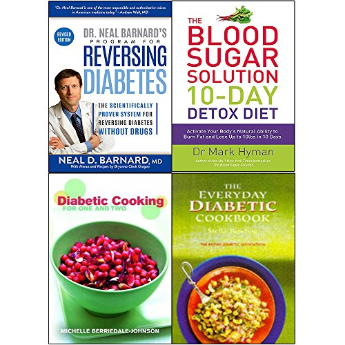 Program for reversing diabetes, blood sugar solution 10-day detox diet cookbook 4 books collection set
