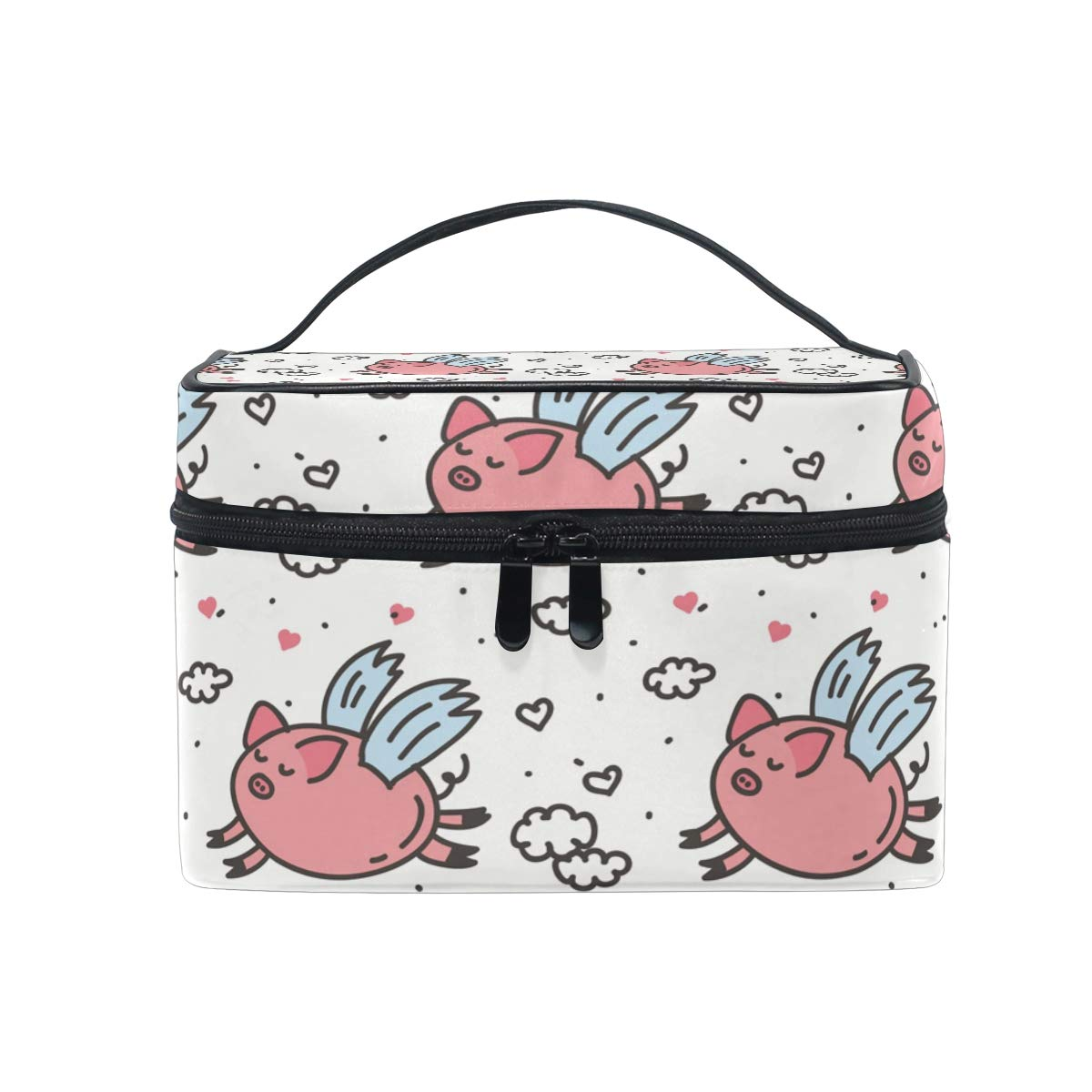 """Blueangle Pink Fly Pig Makeup Bag Portable Travel Cosmetic Bag Organizer Multifunction Case with Double Zipper Toiletry Bag for Woman (9""""x6.2""""x6.5"""")"""