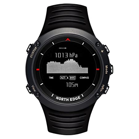 Amazon.com: NORTH EDGE Mens Military Digital Sports Watch LED Back Light Display Waterproof Casual Compass Stopwatch Alarm Multifunction Wrist Watch Black: ...