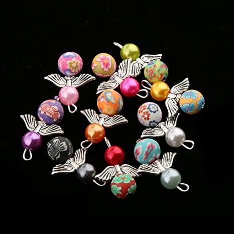 20 Mixed Dancing Angel Wings Charms Pearl Pendants for Jewelry Making Crafts