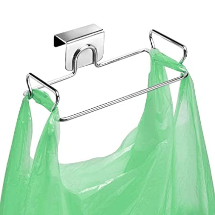 Stainless Steel Kitchen Hanging Trash Rubbish Bags Holder Towel Storage Rack