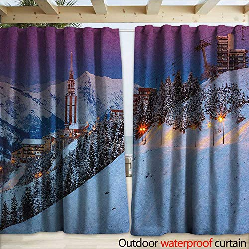 terproof Sliding Door Curtains Majestic Winter Sunrise Landscape and Ski Resort Spruce Pine Forest French Alps W108 x L96 Multicolor ()