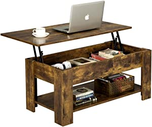 YAHEETECH Lift Top Coffee Table with Hidden Compartment & Storage Shelf, Center Tables for Living Room Office Reception Room, Rustic Brown