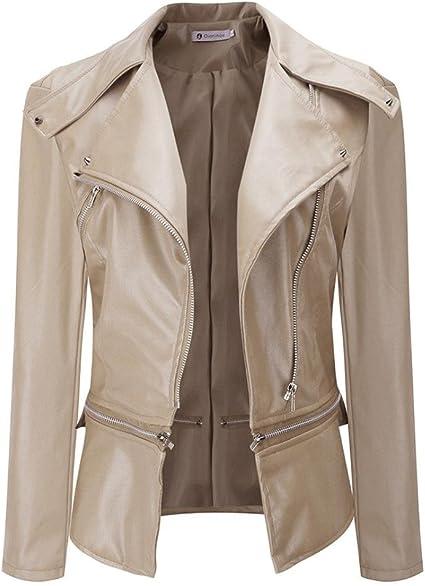 Manteau mince Femmes, Toamen Manche longue Veste en cuir
