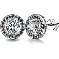 Men Earrings Studs Silver 925 White Black Zirconia Round Unisex J.Endéar Ear Studs 10mm with Gift Box