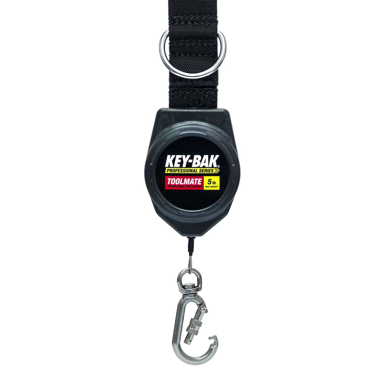 KEY-BAK Toolmate Retractable Tool Lanyard, 5lb. Tool Capacity, Safety Tell-Tale, Locking Swivel Carabiner, Stainless Steel Coated Cable