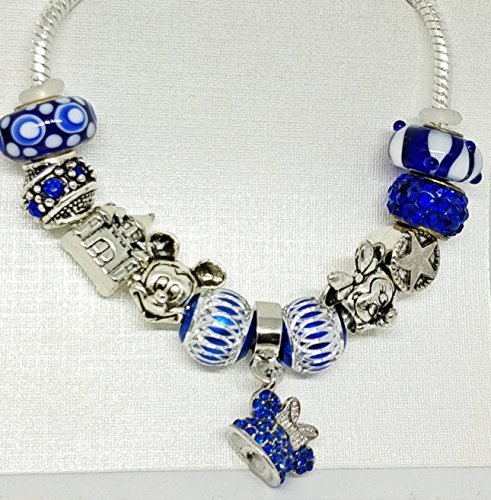 Minnie Mouse Mickey Charm Beads European Style Bracelet Royal Blue Chamilia Jewelry Disney Beads