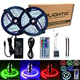 RoLightic Led Strip Lights Kit Non-Waterproof SMD 5050 32.8 Ft (10M) 300LEDs RGB Light Strip with 44key IR Controller and 12V 5A Power Supply for Indoor Home Kitchen Bedroom Car TV Back