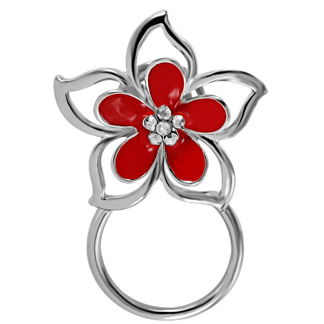 BEICHUANG Charming Red Flower Magnetic Eyeglass Holder Women Girls Brooch Pin (silver)
