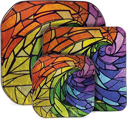 AngelStar 19320 Mosaic Feather 3 Piece Glass Plate Set -