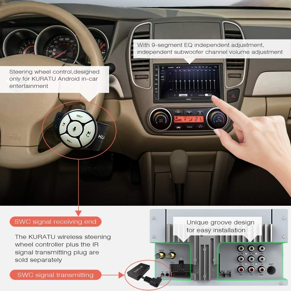 32GB in-Dash GPS Navigation w//Fast Phone Charge Support 2S Fast Boot//WiFi//Steering Wheel Control//Subwoofer//Mirror Link KURATU Android 9.0 Car Stereo Radio Double Din Android Head Unit 8-core 4GB