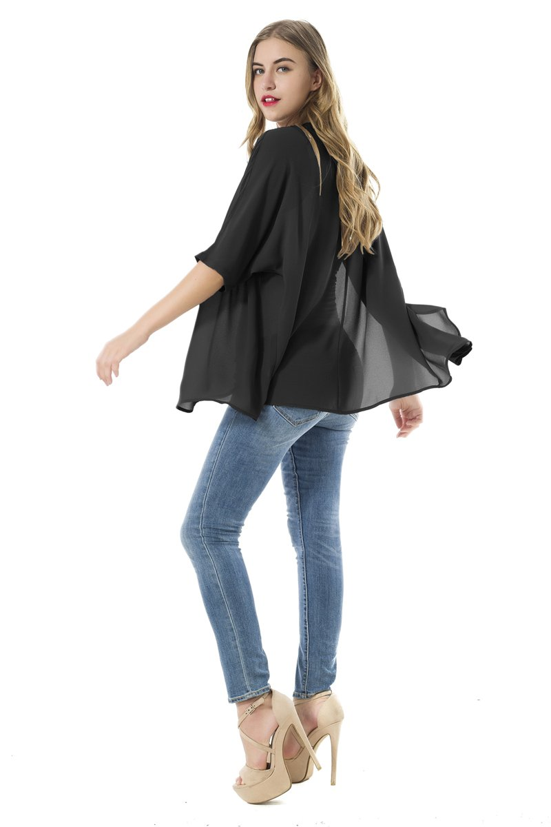 NB Women's Beachwear Sheer Chiffon Kimono Cardigan Solid Casual Capes Beach Cover up (XL, Black) by NB (Image #4)