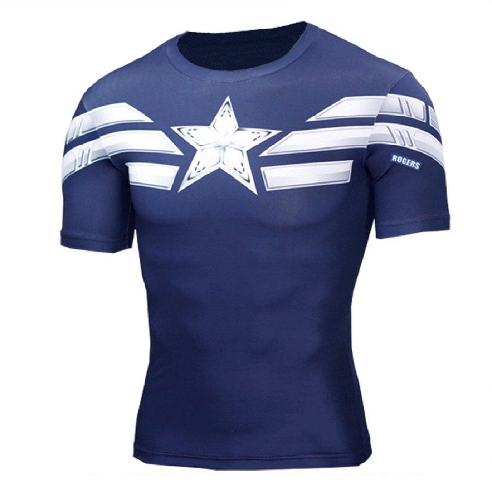 Cosfunmax Superhero Captain Team Leader Compression Shirt Sports Gym Ruining Base Layer XS