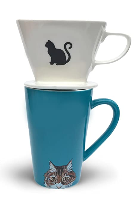 Cone Ceramic Great Coffee Cat Gift And Simply Pour Lovers Filter Mug Charmed Tabby Over Sets By wOklXZiPuT