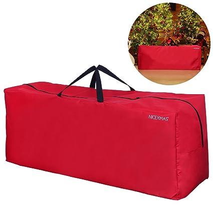 BESTOMZ Bolsa de almacenamiento para árboles de Navidad con asa de transporte con cremallera Bolsa para árbol de adornos navideños con guirnaldas de ...