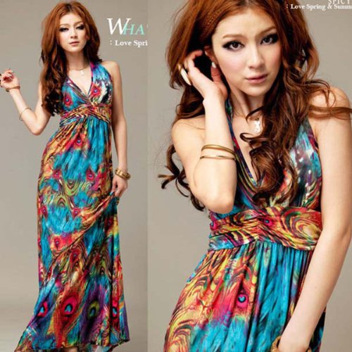 Kunzo®Maxi Evening Party Dress Sexy Women Summer Boho Halter V-Neck Long Beach Dresses
