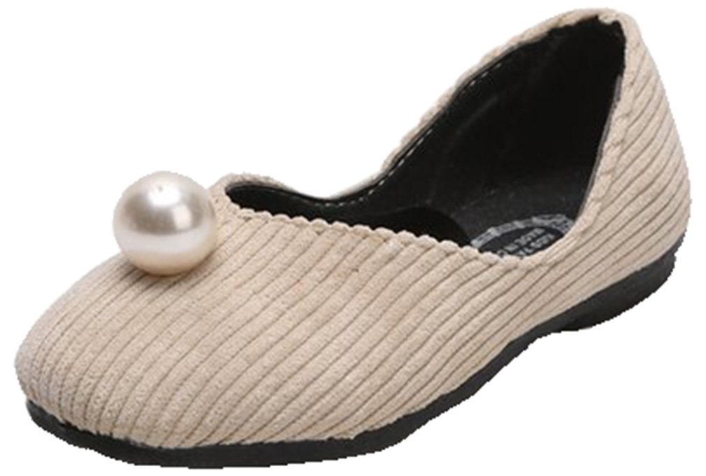 VECJUNIA Girl's Classic Coral Velvet Stripes Mary-Jane Flat Shoes with Pearl (Beige, 12 M US Little Kid)