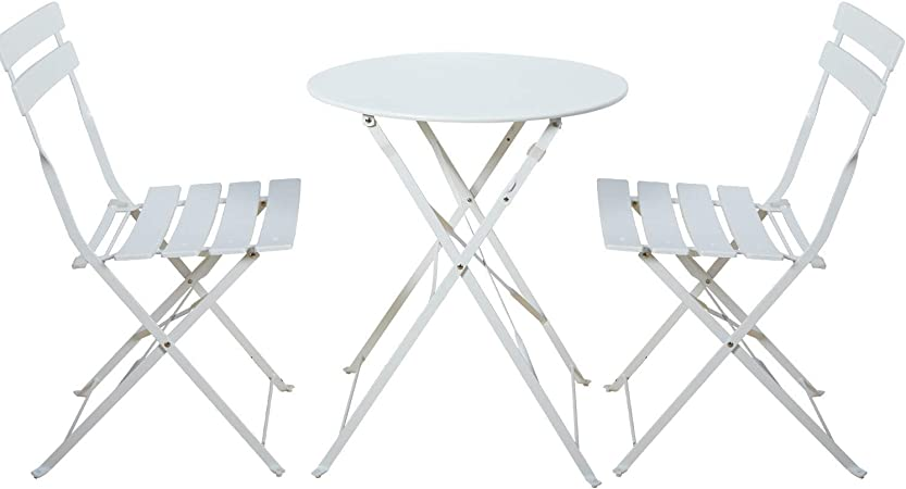 Amazon Com Grand Patio Premium Steel Patio Bistro Set Folding Outdoor Patio Furniture Sets 3 Piece Patio Set Of Foldable Patio Table And Chairs White Garden Outdoor