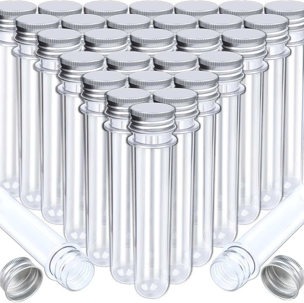 HNYYZL Bestsupplier 30 Pack Science Party Test Tubes 40 ml 25x140mm,Clear Plastic Test Tubes Gumball Candy Tubes, Bath Salt Vials Christmas Birthday Gifts