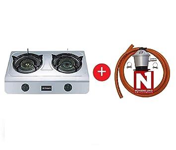 ElectrodomesticosN1 Pack Hornillo a Gas Orbegozo fo 2700 INOX, 2 Fuegos + Regulador de Gas butano HVG, Tubo Manguera 1, 5 Metros, Abrazaderas: Amazon.es: ...