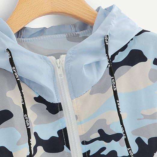 Longra Damen Camouflage Übergangsjacke Camo Military Jacke Leichte  Herbstjacke Streetwear Kapuzenjacke mit Reißverschluss Damen Windbreaker  Softshelljacken ... e9ce016858