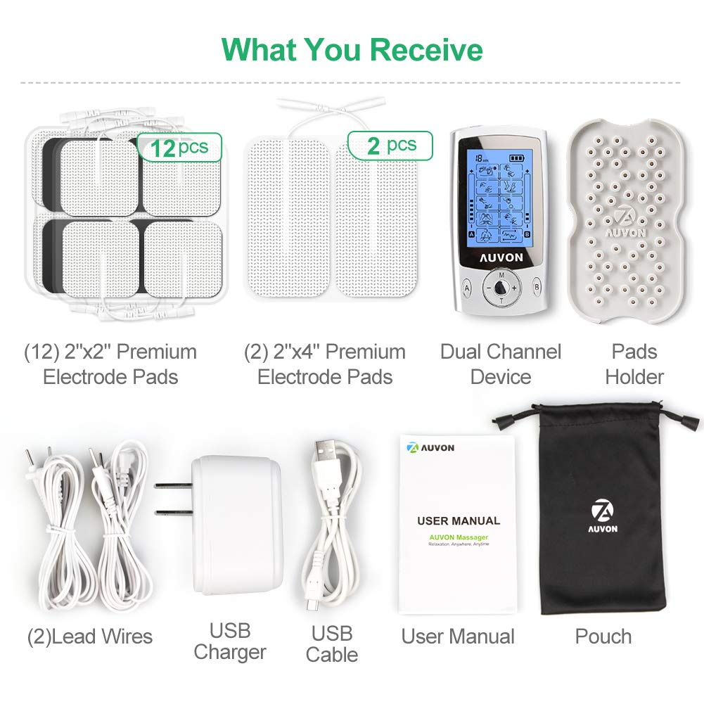 AUVON Rechargeable TENS Unit Muscle Stimulator, 2nd Gen16 Modes TENS Machine with Upgraded Self-Adhesive Reusable TENS Electrodes Pads (2''x2'' 12pcs, 2''x4'' 2pcs) by AUVON (Image #6)