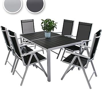 Miadomodo - Salon de Jardin Terrasse en Aluminium 1 Table + 6 ...