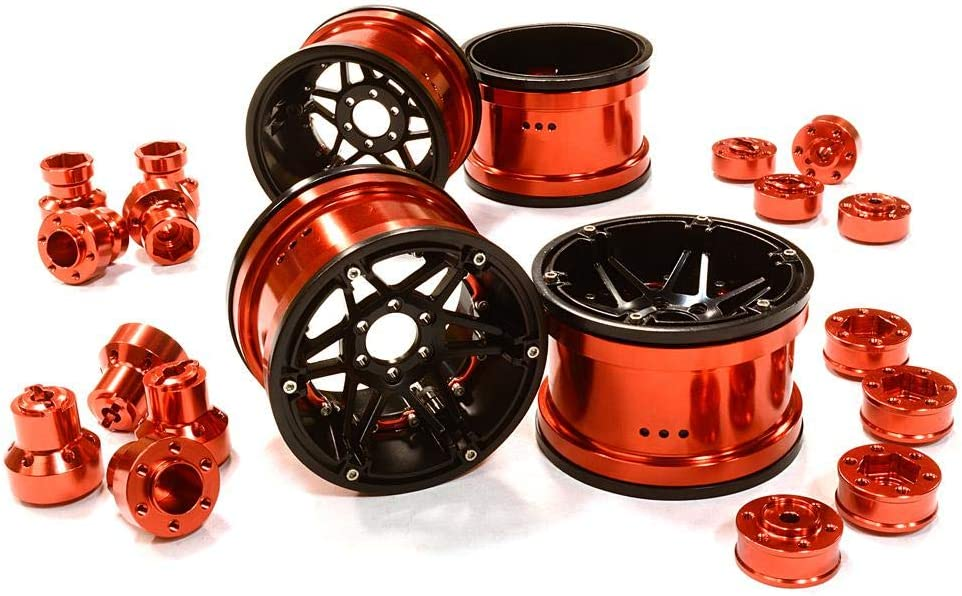 C26523RED Integy 6 Spoke Wheels w//Multi Adapters for Most 2.2 Scale Rock Crawler
