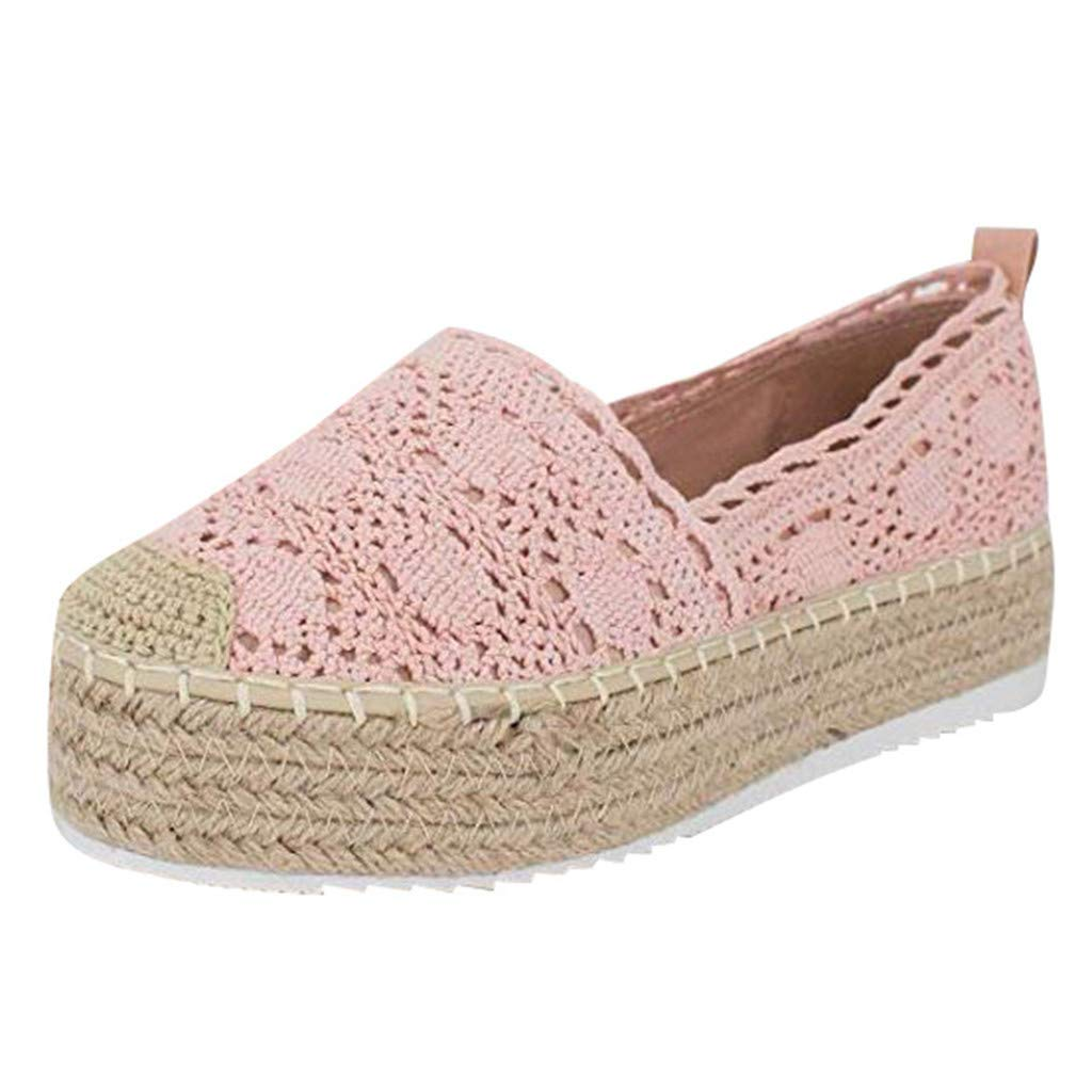 HENWERD Women's Hollow Platform Casual Shoes Solid Color Breathable Wedge Espadrilles (Pink,5 US)