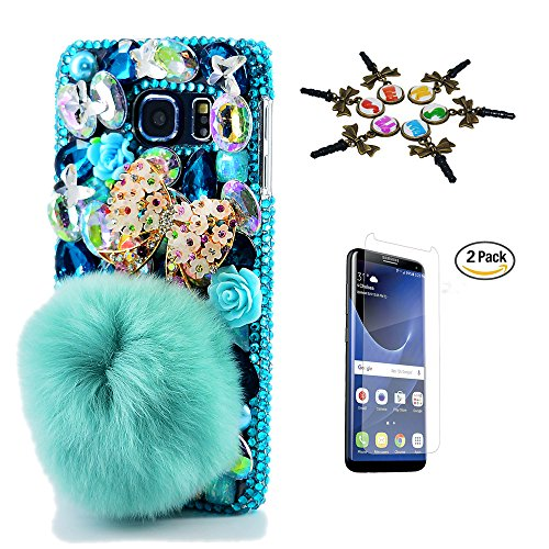 Galaxy Note 8 Case, STENES 3D Handmade Luxury Crystal Polka Dots Bowknot Rabbit Villus Flowers Sparkle Rhinestone Design Cover Bling Case for Samsung Galaxy Note 8 with Retro Anti Dust Plug - Blue (Polka Note)
