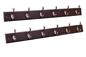 BirdRock Home Hook Coat and Hat Rack | 2 Pack | 6 Hooks | 27 Inches | Wall Mount | Decorative Home Storage | Entryway Foyer Hallway Bathroom Bedroom Rail | Oil Rubbed Bronze Hooks | Dark Brown Pine