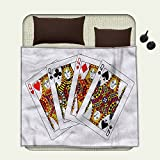 smallbeefly Queen Flannel blanket Queens Poker Set Faces Hearts and Spades Gambling Theme Symbols Playing Cardsblanket queen size Black Red Yellow