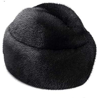 ed36157374e608 DELORESDKX Mink Fur Hat, Men's Russian Trapper Cossack Winter Warm Hat Ski  Cap Black