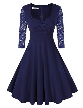 KOJOOIN Damen Vintage Kleid Cocktailkleid Abendkleid Rockabilly Kleid  Taillenbetontes Kleider(Verpackung MEHRWEG)  Amazon.de  Bekleidung 641a7913de